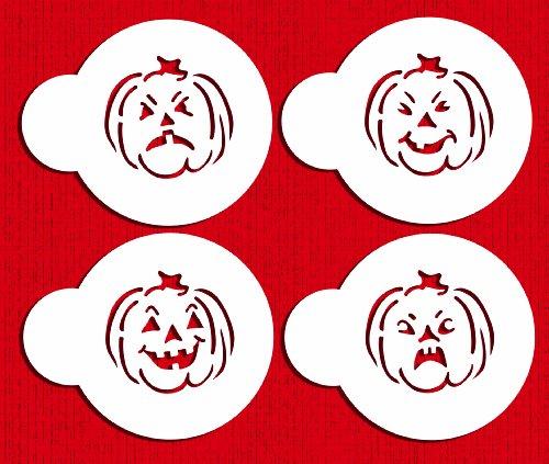 Designer Stencils C573 Mini Halloween Pumpkin Faces Cookie Stencils, Beige/semi-transparent
