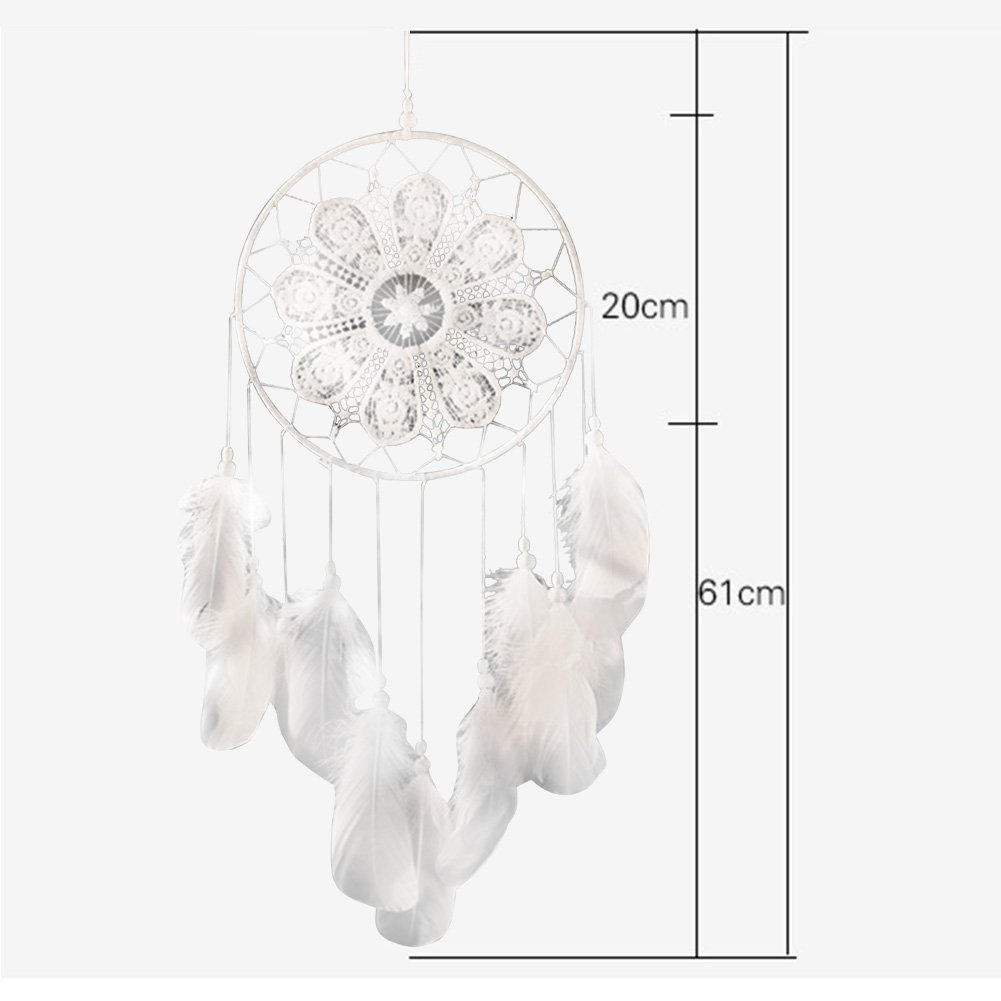 India Dream Catcher Large Handmade Wall Hanging for Kids Bedroom - White Dreamcatcher Hanging Feather Ornament