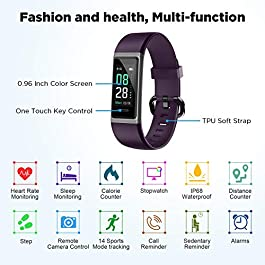 LETSCOM Fitness Trackers with Heart Rate Monitor, Activity Tracker with Sleep Monitor, IP68 Waterproof Pedometer Step…