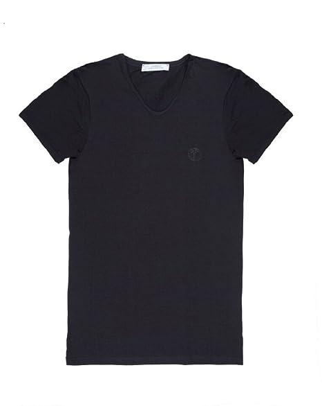 Versace Collection Men's Black Cotton V Neck Medusa Undershirt T Shirt Viovc01 by Versace