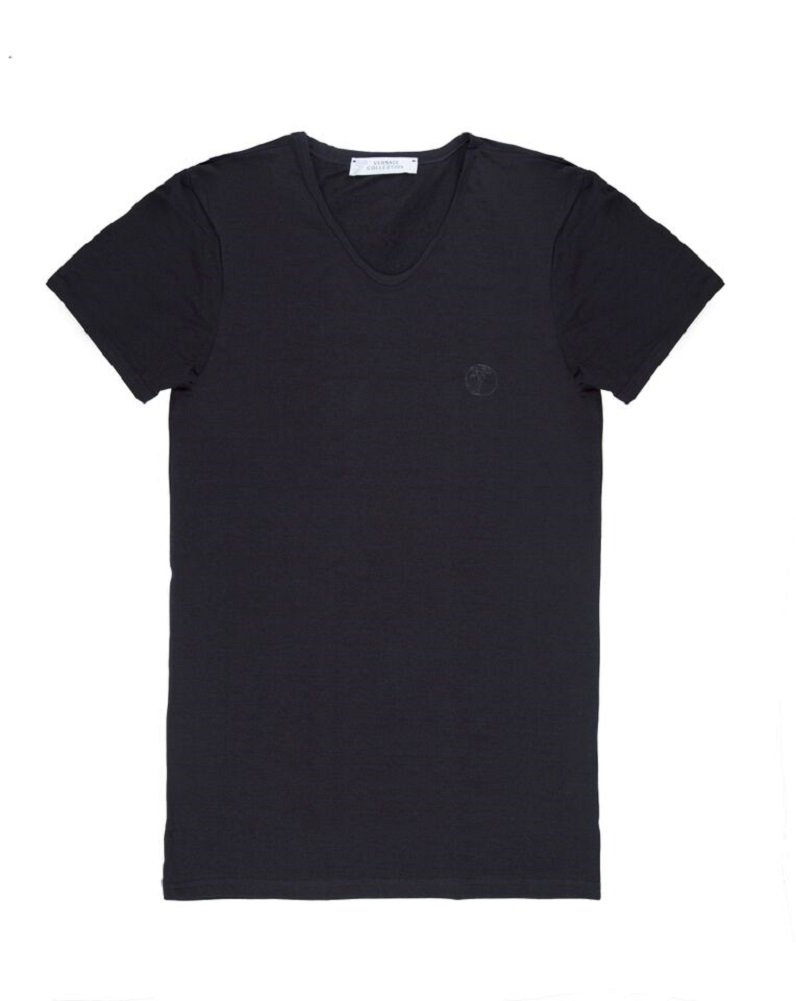 Versace Collection Men's Black Cotton V-neck Medusa Undershirt T-shirt Viovc01 (L)