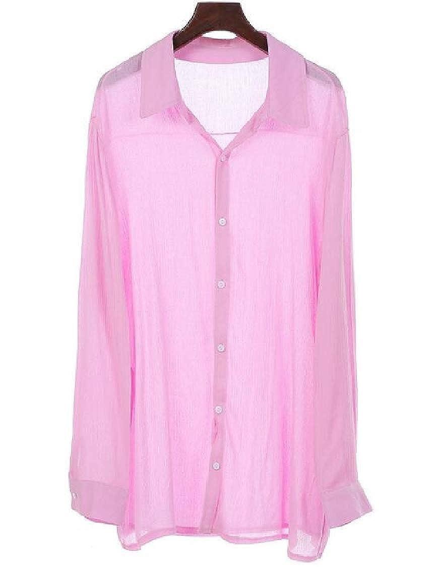 SELX Men Button Down Baggy Long Sleeve Solid Beach Shirt