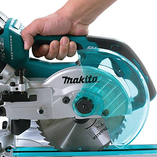 Makita XSL02Z 18V X2 LXT Lithium-Ion Brushless Cordless 7-1/2″ Dual Slide Compound Miter Saw, Tool Only