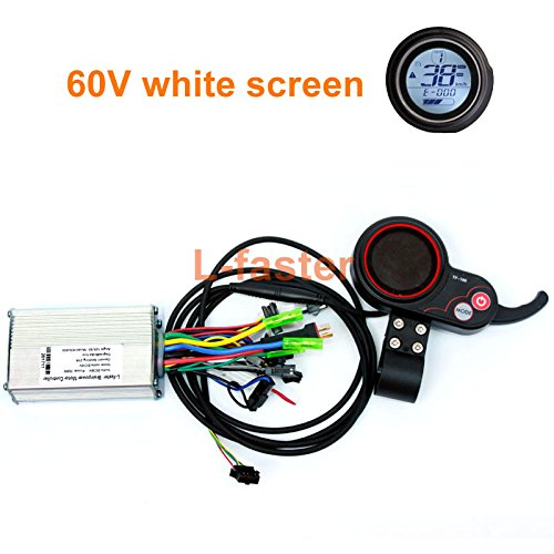 Hub Motor Controller - 250/350W Electric Scooter LCD Display And Thumb Throttle Electric Brushless Hub Motor Controller With Color LCD Screen Indicator (60V White screen kit)