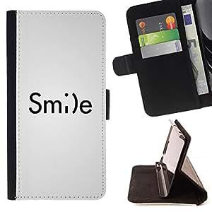 BullDog Case - FOR/HTC One M9 / - / smile smiley emoticon inspiring text white /- Monedero de cuero de la PU Llevar cubierta de la caja con el ID Credit Card Slots Flip funda de cuer