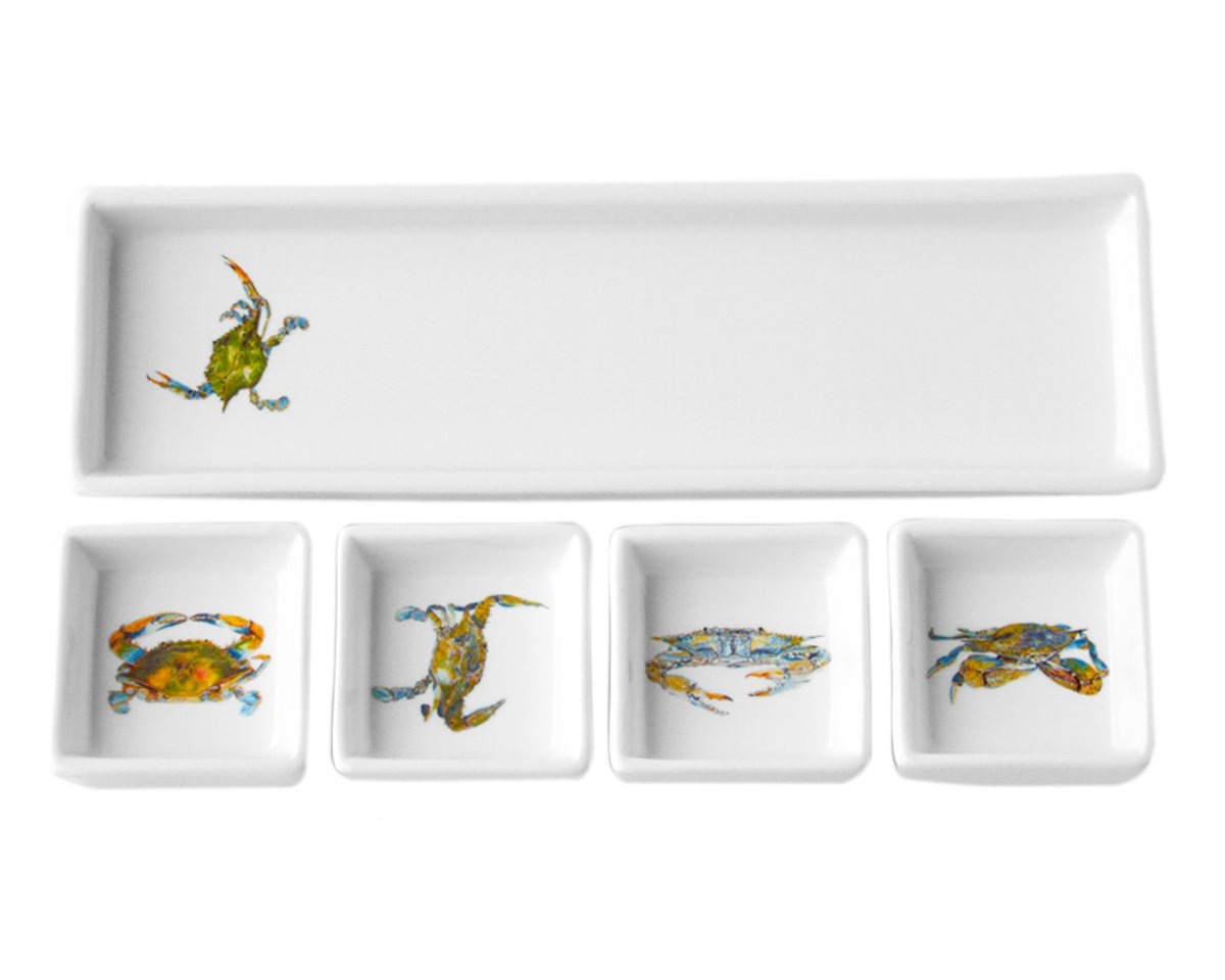 Kim Rody Creations Blue Crab Rectangle Dip Set That Hold Four Square Dishes - 11.25x3.25x3 by Kim Rody Creations (Image #1)