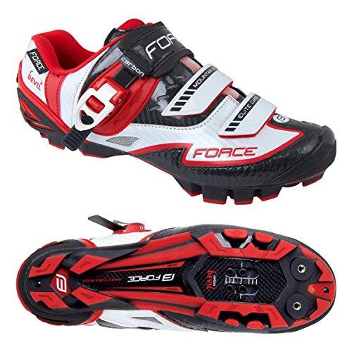 Force - Zapatillas de ciclismo de Material Sintético para hombre blanco y rojo