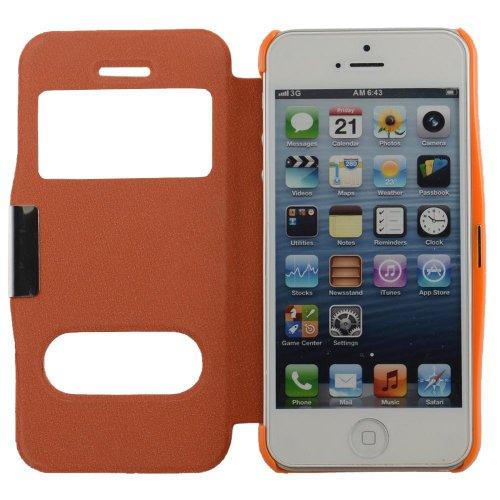 N20- Orange Flip Cover mit Sichtfernster für Apple iPhone 5 5C 5S Schutzhülle Hülle Schale Handytasche Tasche Etui Case Orange