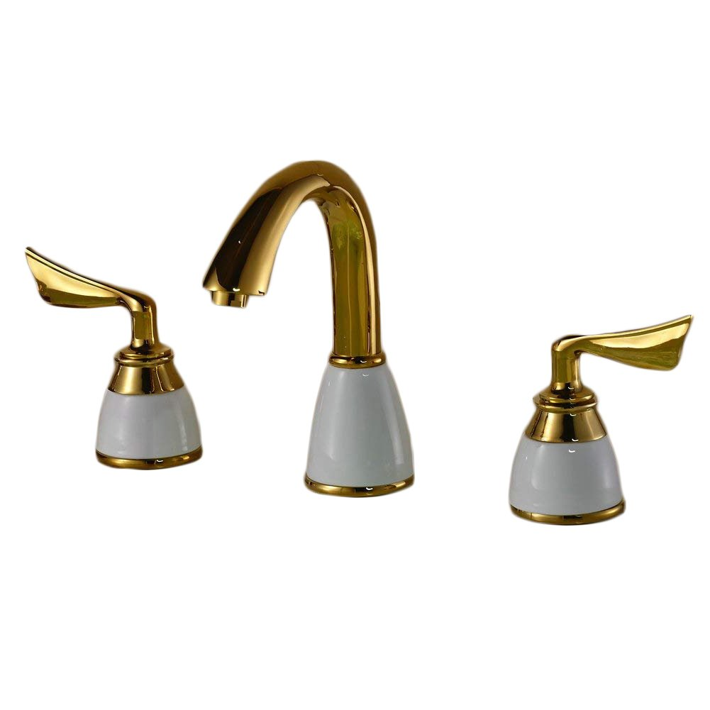 Beelee Luxury Golden Two Handles Deck Mount Bath Tub Faucet Antique Brass Finish Bathroom Sink Faucet Bronze Widespread Bathroom Sink Faucet, Antique Brass Finished