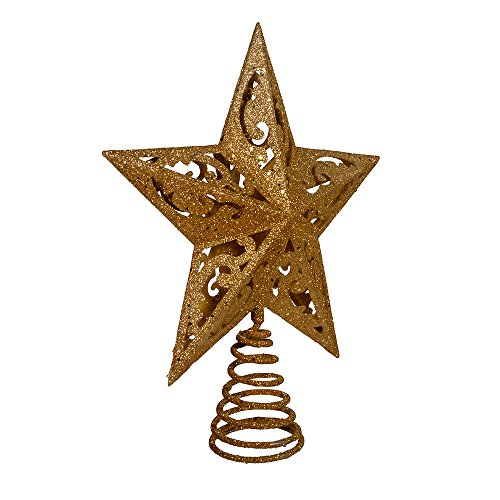 Kurt Adler 8-Inch Gold Glittered 5 Point Star Treetop (Tree Angel Topper Simple)