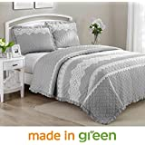 """Wonder Home 3-pc. Shabby Chic Cotton Percale Quilt Set, Prewashed Oversized Diamond Matelasse Quilted Coverlet Set with Lace and Embroideries, Grey, Queen 92""""x96"""""""
