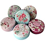 TooGet Elegant Tinplate Empty Tins, Home Kitchen Storage Containers, Shabby Chic Tins DIY Candles, Dry Storage, Spices, Tea, Candy, Party Favors Gifts(Round 6-Pack)