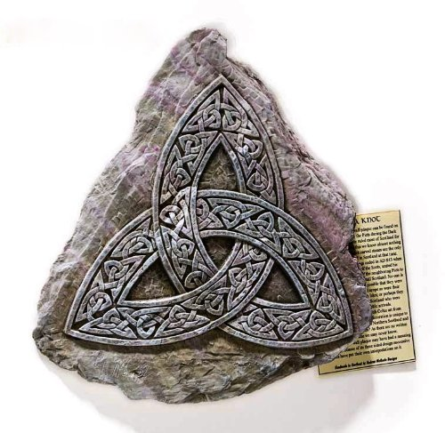 Triquetra Cast - Triquetra Celtic Interlace Knot Wall Plaque, Sign, Picture - Indoor Outdoor Use.