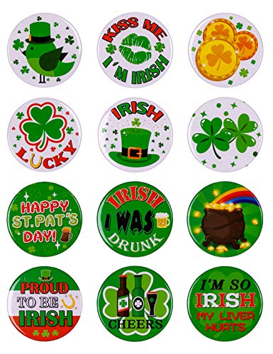 - jollylife 84PCS St. Patrick's Day Shamrock Buttons Party Favors Decorations Irish Pins Decor