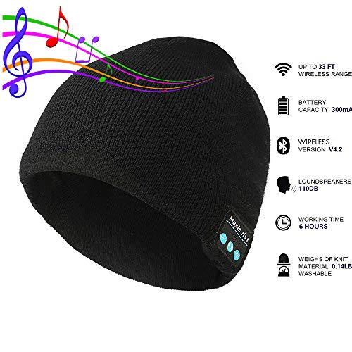Pardecor Tech Speaker Beanie Hats with Headphones, Unique Winter Headset and Wireless Music Players Mic Cap for Hands Free Calling, Warmer Ear Winter Outdoor Sports for Men Women Teen