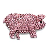 Soulbreezecollection Pig Hog Farm Animal Brooch Pin Light Pink Rhinestones Fashion Jewelry