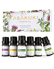 ASAKUKI Aromatherapy Essential Oils includes Lavender, Eucalyptus, Lemongrass, Tea Tree, Sweet Orange and Peppermint, Water-soluble Essential Oils for Diffuser and Humidifier, Ideal Gift Set of 6 x 10ml