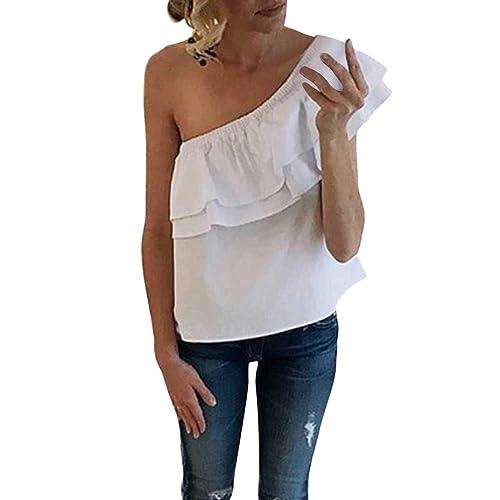 Maglia Monospalla Donna Top Spalle Scoperte con Volant T shirt Estive Manica Corta Blusa Sexy Elegan...