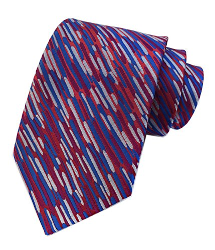 Mens Narrow Blue Red Woven Silk Ties Palette Regular Soft Business Boys Necktie by Elfeves (Image #2)