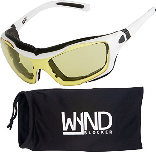 WYND Blocker Large Motorcycle Riding Glasses Extreme Sports Wrap Sunglasses, White, Yellow Night Driving