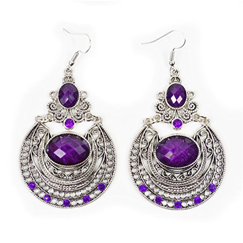 (Tibetan silver big vintage resin bead bohemian drop earrings,Purple)