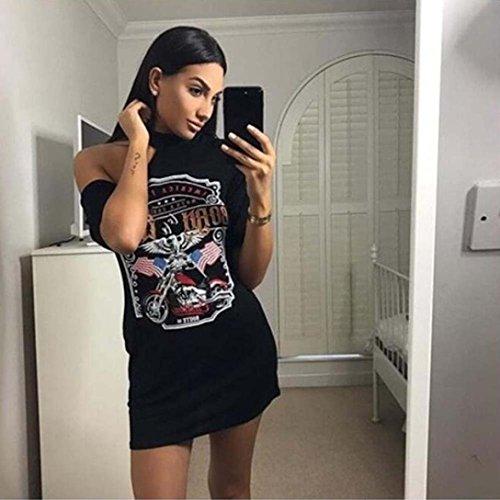 Las de Camiseta Camiseta del Mujeres Larga Rock Estilo Vendimia Vestido Mini La Hombro Sexy Gusspower negro EPgwAqtnF