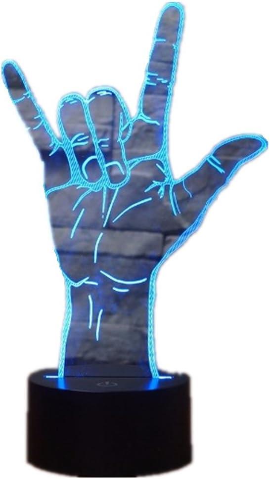 3D Optical Illusion I Love You Sign Language LED Hologram Night Light USB Operated Romantic Valentine' Day Party Decoration