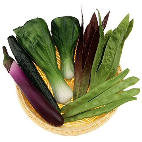 Woration 10 pcs Artificial Vegetables Decoration Fake Eggplant Cucumber Purple Leafy Shanghai Green Bean Home Kitchen Display Model