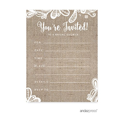 (Andaz Press Burlap Lace Wedding Collection, Blank Bridal Shower Invitations with Envelopes, 20-Pack)