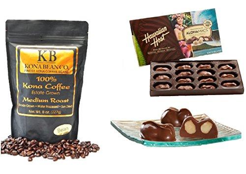 Kona Coffee & Hawaiian MC Gourmet Coffee Chocolate Gift set 100% Kona Coffee Dark & Medium Roast Coffee Whole Bean & Ground Alohamacs Silky Milk Chocolate Macadamia Nuts (Medium Roast, All in all Bean)
