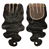 3 Part Lace Closure 4x4 Body Wave Human Hair Closure Piece with Baby Hair Natural Black Color No Bleached Knots (8 inch)