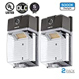 LEONLITE 30W Dusk to Dawn LED Wall Pack, UL & DLC Premium Certified Outdoor Mini Wall Light with Photocell, 330W Equiv, 3300lm, 5000K Daylight, 5 Years Warranty, Pack of 2