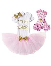 IWEMEK Baby Girl 4Pcs My 1st/2nd Birthday Cake Smash Romper Tutu Skirt Outfit