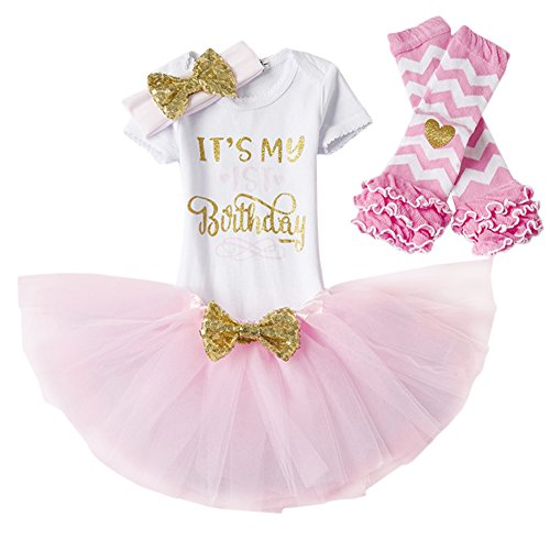 Leg Unitard - Baby Girl Its My 1st/2nd Birthday Cake Smash 3/4Pcs Shinny Sequin Bow Romper+Tutu Skirt+Headband+Leg Warmer Outfit, 4pcs 1st Birthday Pink (1 Year), One Size