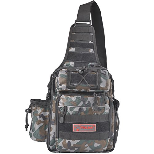 Fiblink Waterproof Sports Single Shoulder Fishing Tackle Bag Backpack or Handbag Chest Daypack Crossbody Messenger Sling Bags for Hiking Camping (Woodland (Woodland Camouflage Shoulder Bag)