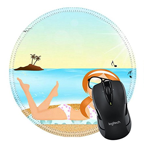 MSD Mousepad Round Mouse Pad/Mat 27428180 girl with headphone music on the beach (Headphones Sunray)