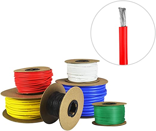 100 ft Red Fine Strand Tinned Copper 14 AWG Gauge Silicone Wire Spool