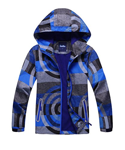 M2C Boys Hooded Full-Zip Windproof Fleece Lined Active Jacket 6/7 Blue