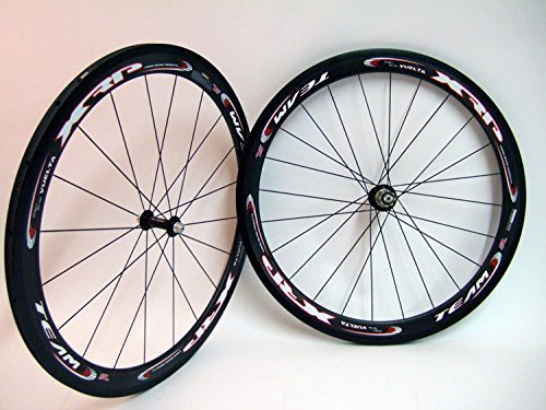 Vuelta 700c XRP 50mm Full Carbon Fiber Team SL Tubular Wheel Set For Shimano Black Road Bike (Tubular Clincher Wheels)