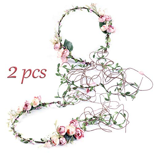 ZOCONE Flower Crwon Headpiece for Girls and Women 2 Pack Floral Headband Wedding Hair Garland Flower Wreath