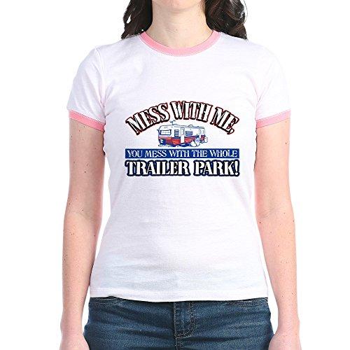 Royal Lion Jr. Ringer T-Shirt Mess with Me You Whole Trailer Park - Pink/Salmon, Large