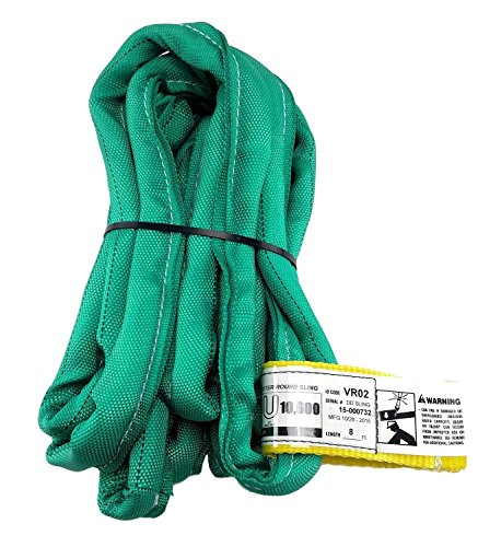 USA Made VR2 X 8' Green Slings 4'-30' Lengths In Listing, DOUBLE PLY COVER Endless Round Poly Lifting Slings, 5,300 lbs Vertical, 4,240 lbs Choker, 10,600 lbs Basket (USA Poly)(8 FT) (Tree Sling)