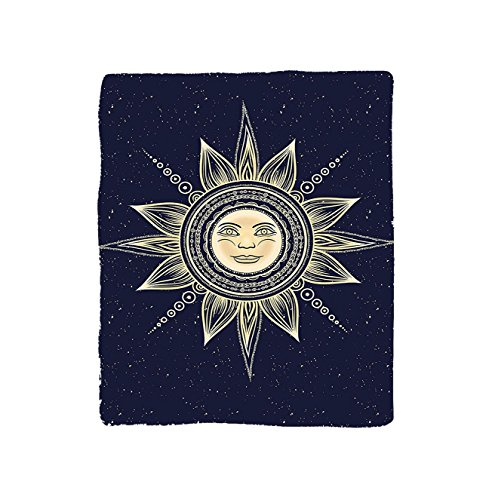 VROSELV Custom Blanket Psychedelic Vintage Occult Sun with Face Boho Chic oteric Solar Spiritual Display Bedroom Living Room Dorm Yellow Dark Blue