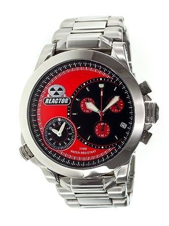 Reactor 85011 Edelstahl-Armband-Band-rote Vorwahlknopf-Chronograph-analoge Uhr der MÄnner