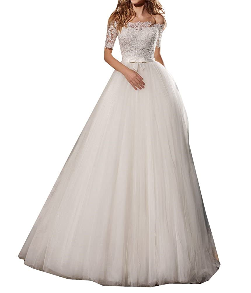 Womens Lace Off The Shoulder Bridal Dresses Tulle Simple Sweep