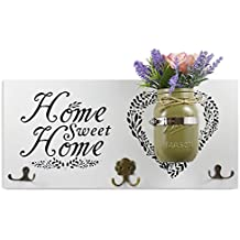 "Home Decor Key Holder and Coat Hook Wall Mounted Mason Jar Vase and Wood Sign (""Home Sweet Home"", Purple Flowers Included)"