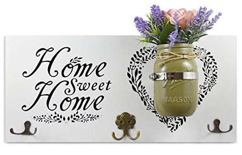 Home Decor Key Holder and Coat Hook Wall Mounted Mason Jar Vase and Wood Sign (
