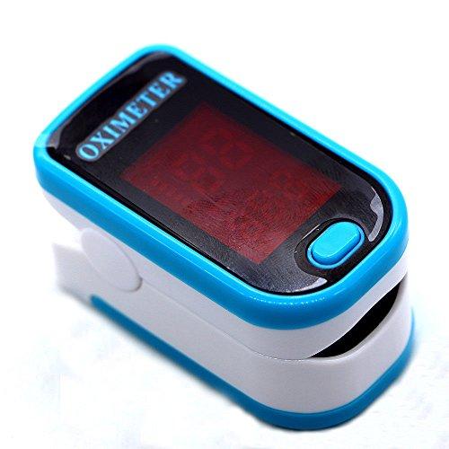 Bomaoer Finger Fingertip Blood Oxygen Meter SPO2 OLED Pulse Heart Rate Monitor Oximeter Lanyard Included (Blue)