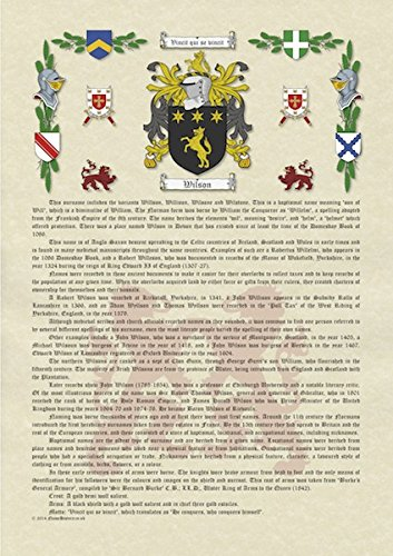 e8af11be0507e A3 Printed Surname History with Coat of Arms (Family Crest) on Parchment  Paper  Amazon.co.uk  Kitchen   Home