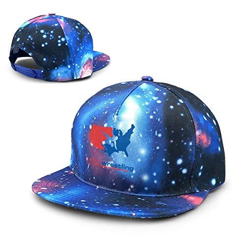 (USA Wrestling Running Star Sky Night Style Baseball Cap Blue)